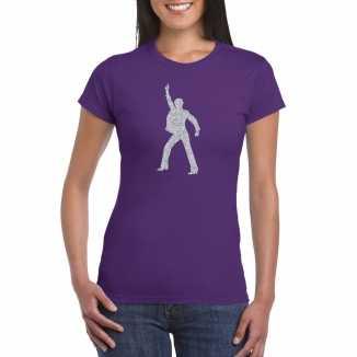 Zilveren disco t shirt / kleding paars dames