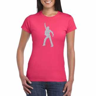 Zilveren disco t shirt / kleding roze dames