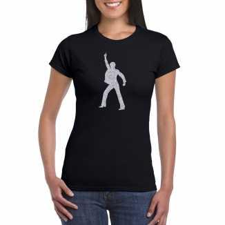 Zilveren disco t shirt / kleding zwart dames