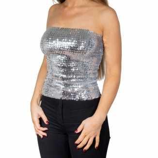 Zilveren glitter pailletten disco strapless topje/ shirt dames