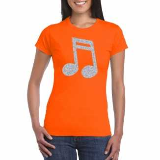 Zilveren muziek noot / muziek feest t shirt / kleding oranje dames