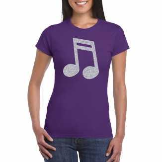 Zilveren muziek noot / muziek feest t shirt / kleding paars dames