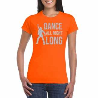 Zilveren muziek t shirt / shirt dance all night long oranje dames