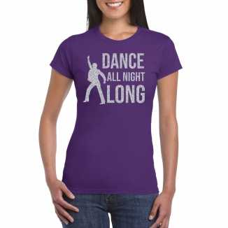 Zilveren muziek t shirt / shirt dance all night long paars dames