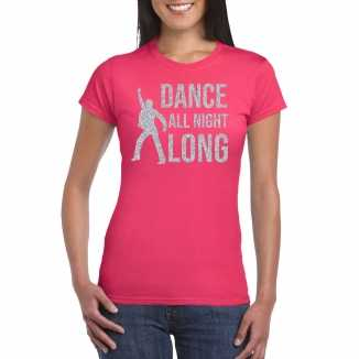 Zilveren muziek t shirt / shirt dance all night long roze dames