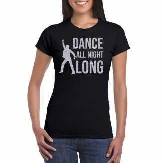 Zilveren muziek t shirt / shirt dance all night long zwart dames