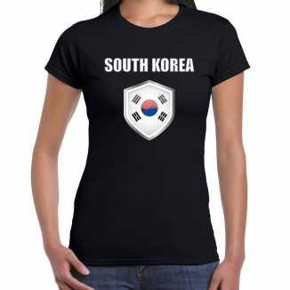Zuid korea landen supporter t shirt zuid koreaanse vlag schild zwart dames