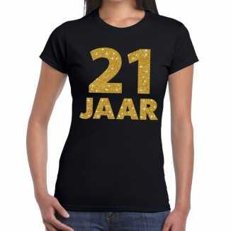 Zwart eenentwintig jaar verjaardag shirt dames gouden bedrukking