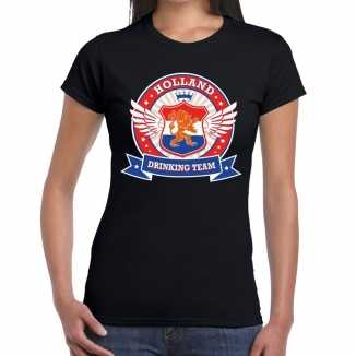 Zwart holland drinking team t shirt dames