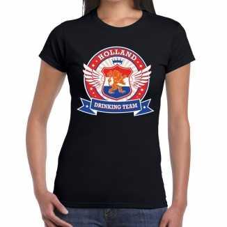 Zwart holland drinking team t shirt dames