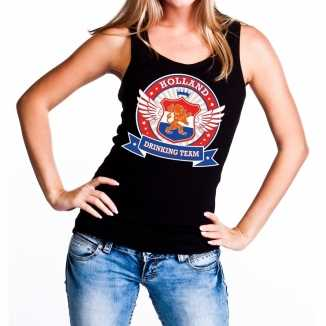 Zwart holland drinking team tanktop mouwloos shirt dames