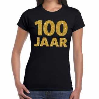 Zwart honderd jaar verjaardag shirt dames gouden bedrukking