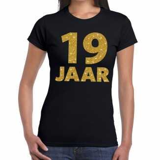 Zwart negentien jaar verjaardag shirt dames gouden bedrukking