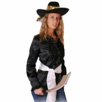 Zwart piraten shirt dames