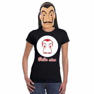 Zwart salvador dali t shirt la casa de papel masker dames