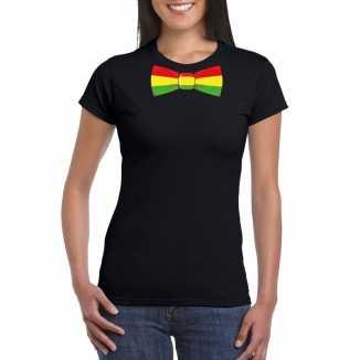 Zwart t shirt limburgse vlag strik dames
