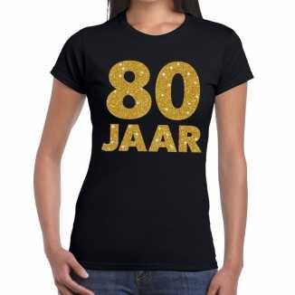Zwart tachtig jaar verjaardag shirt dames gouden bedrukking
