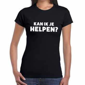 Zwart tekst shirt kan ik je helpen bedrukking dames