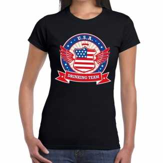 Zwart usa drinking team t shirt dames