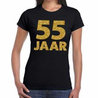 Zwart vijfenvijftig jaar verjaardag shirt dames gouden bedrukking