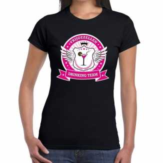 Zwart vrijgezellen drinking team t shirt dames