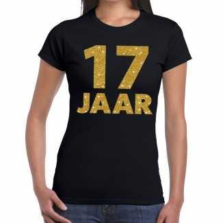 Zwart zeventien jaar verjaardag shirt dames gouden bedrukking