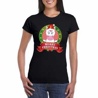 Zwarte eenhoorn kerst t shirt dames merry christmas