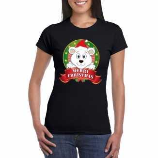 Zwarte ijsbeer kerst t shirt dames merry christmas