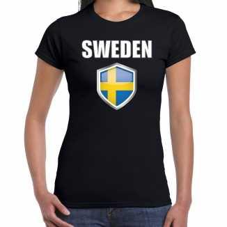 Zweden landen supporter t shirt zweedse vlag schild zwart dames