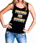 Proud stout gaypride tanktop mouwloos shirt zwart dames